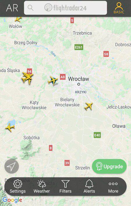 Aplikacje dla podróżników - screen z Flightradar24 #3