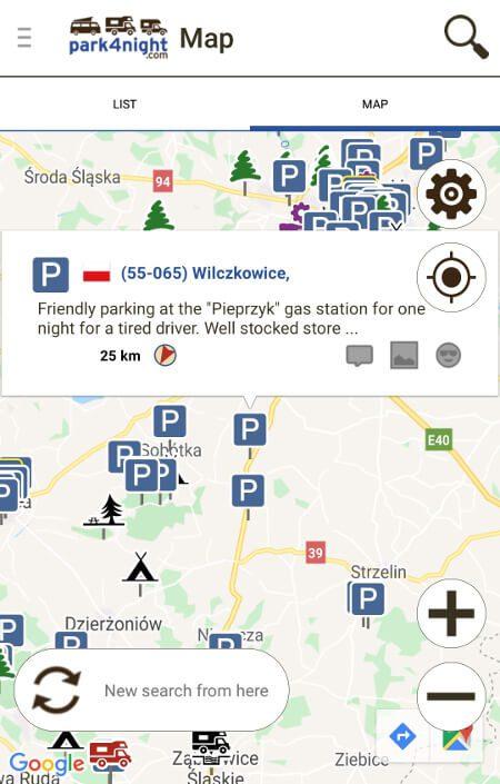 Aplikacje dla podróżników - screen z Park4night #1