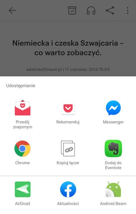 Aplikacje dla podróżników - screen z Pocket #1