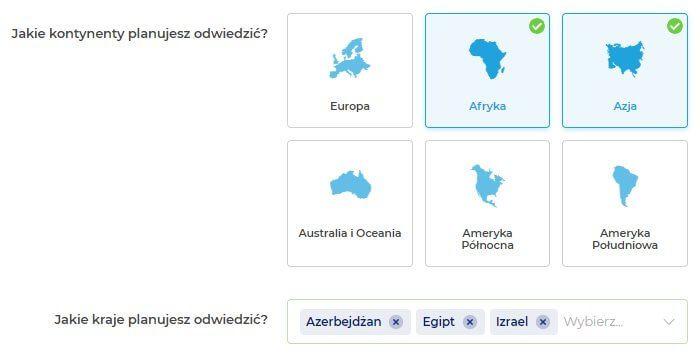 Zrzut ekranu z Rankomat do zakupu ubezpieczenia turystycznego