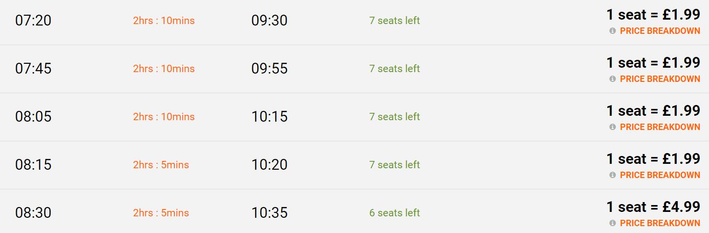 Lista autobusów z lotniska Stansted do Londynu