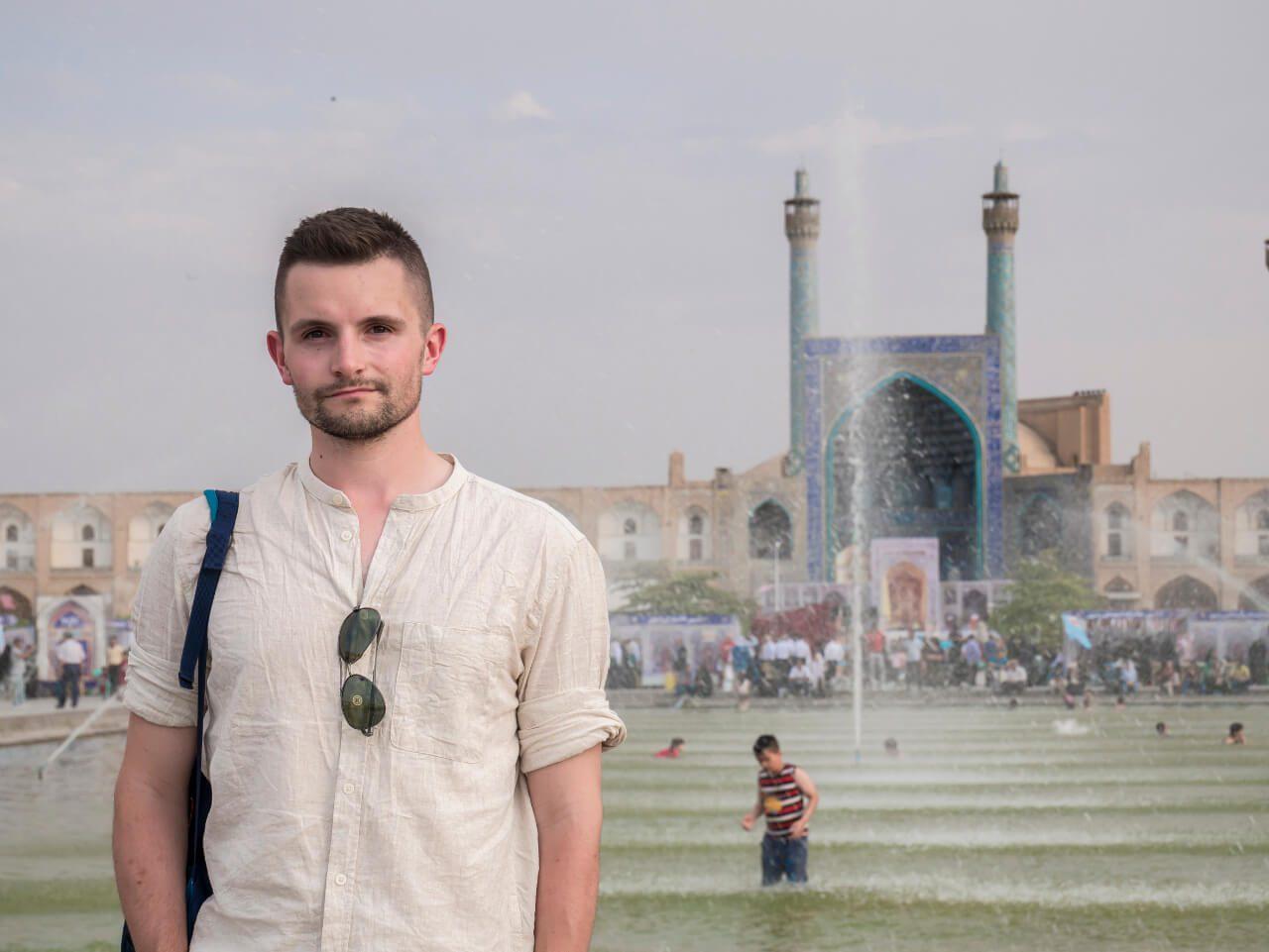 Bartek na placu Naqsh-e Jahan w Isfahanie