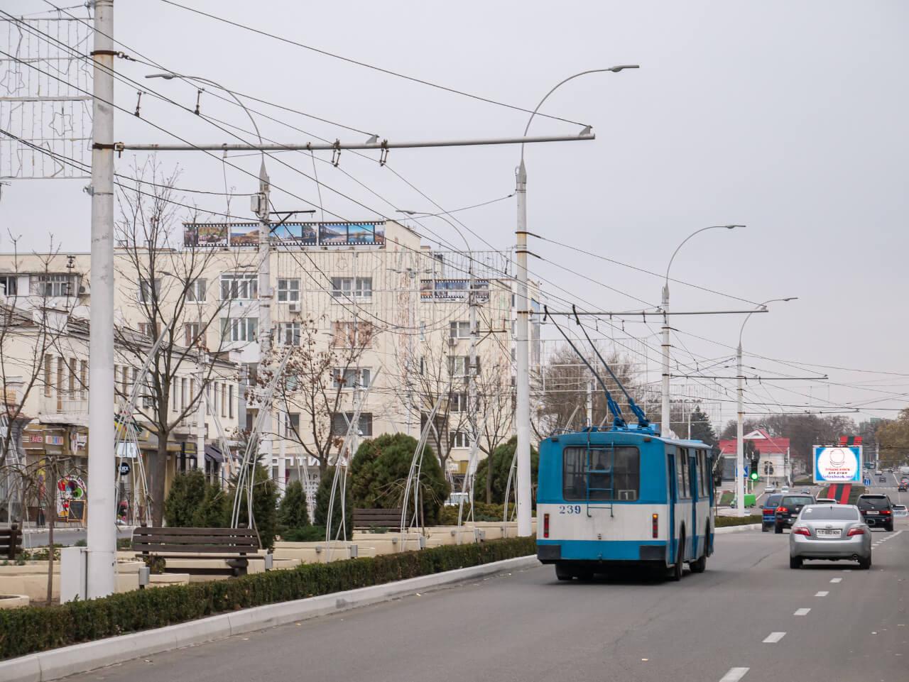 Trolejbus na ulicy Tyraspola w Naddniestrzu