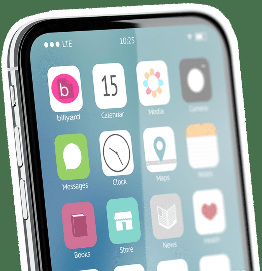 billyard app auf Smartphone