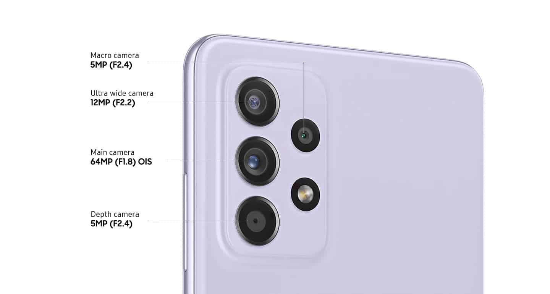Galaxy A52 fotoaparat 64 Mpx + 12 Mpx + 5 Mpx + 5 Mpx.