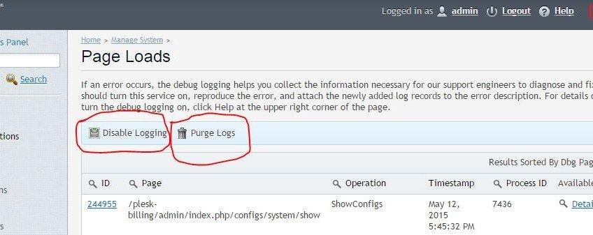 Plesk dbg_entries.myd Huge File Size