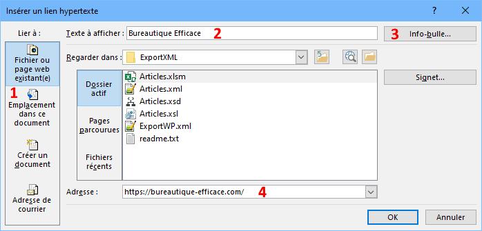 créer un lien hypertexte vers une page web ou un fichier dans Excel