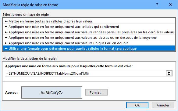 Règle de mise en forme conditionnelle dans Excel