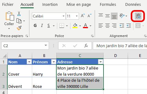 Excel - renvoi à la ligne automatique