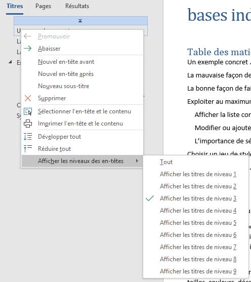 Choisir les niveaux de titres à afficher dans le volet de navigation Word