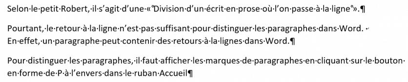 marques de paragraphes dans Word