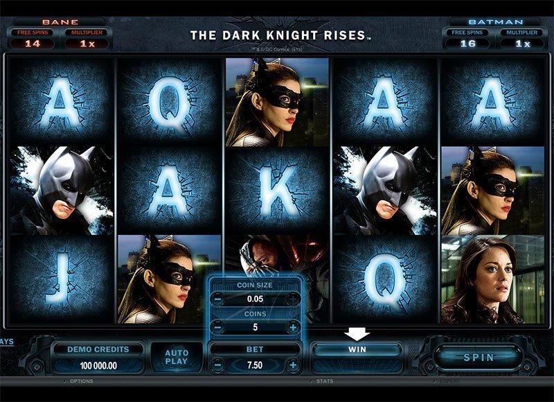 Oversigt over The Dark Knight Rises med flere forskellige free spins for at aktivere.