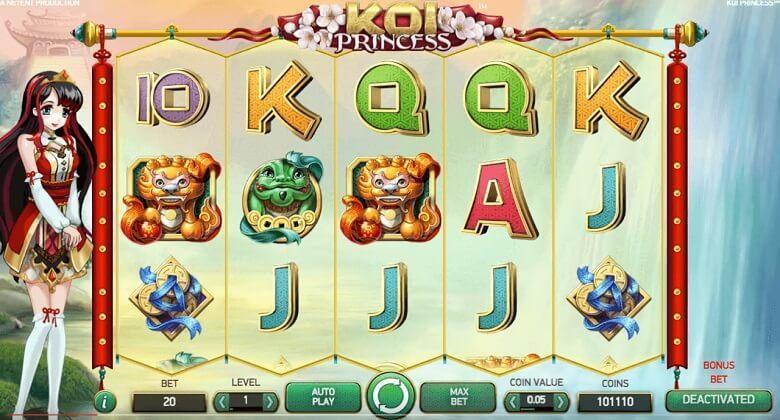 Koi Princess spillemaskine er en 5-hjuls, 3-linjers og 20 paylines online spilleautomat med flere bonusspil og free spins.