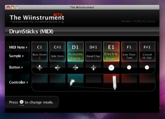 Wiinstrument Wii software on Leopard
