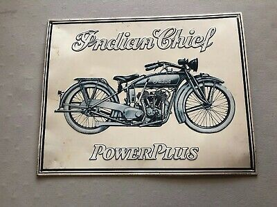 "Advertising Sign ""Indian Chief PowerPlus"" Motorcycle Sign Vintage Blue White"