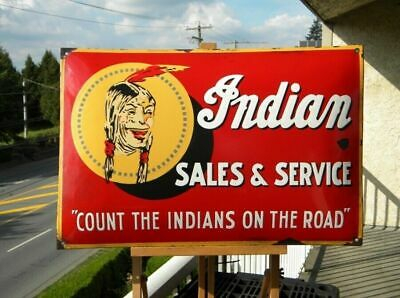 XL INDIAN SALES & SERVICE VINTAGE PORCELAIN SIGN MOTORCYCLES V2 CHIEF ROADMASTER