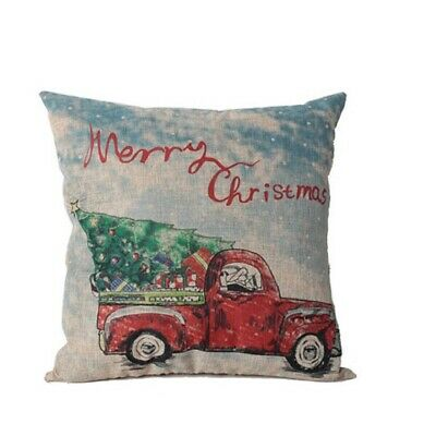 Merry Christmas Pillow with Red Truck and Tree 16 x 16 Inch New