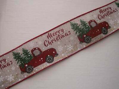 Vintage Truck with Tree Christmas Ribbon, Wired Edge, 2 1/2 In Wide, 3 YARDS