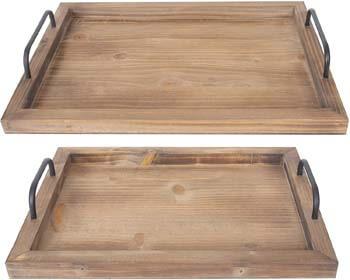 8. Besti Rustic Vintage Food Serving Trays (Set of 2)