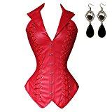 Sitengle Women's Wasit Cincher Faux Leather Steampunk Corset Goth Bustier Top Costume Gothic Vest Jacket Rock Biker