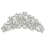 Ever Faith Austrian Crystal Gorgeous Bridal Flower Hair Comb Silver-Tone Clear A09910-1