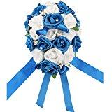 OurWarm Teardrop Style Crystal Roses Pearl Bridal Bridesmaid Wedding Bouquet Artificial Silk Flowers Deep Blue,1PCS