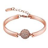 joyliveCY Women'S Jewerly Wedding 18K Rose Gold Plated Crystals Flower Fashion Grace Lady Bracelet