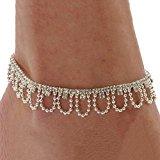 Celeb Crystal Charm Drop Ankle Chain Bracelet Anklet Wedding Jewelry