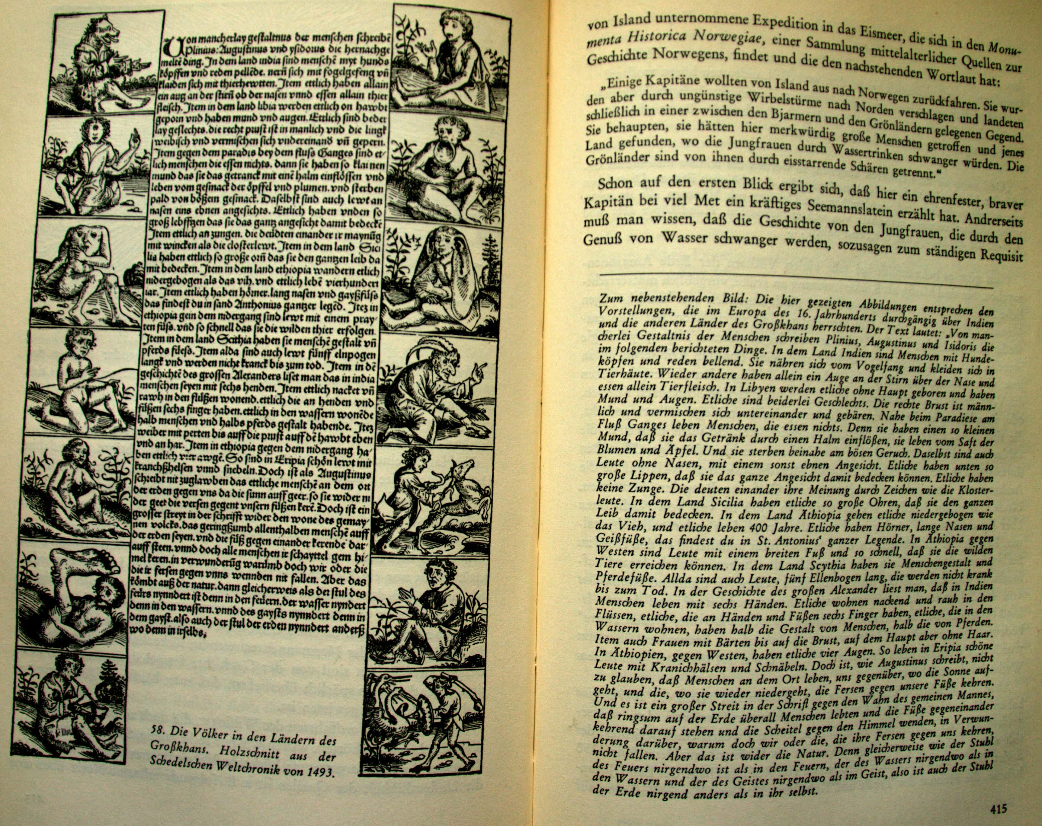Die Völker in den Ländern des Großkhans - Holzschnitt - 1493