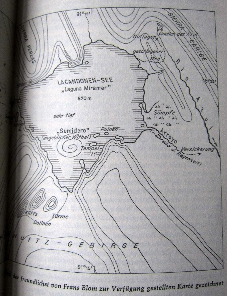 Laguna Miramar - gezeichnet nach einer Karte von Frans Blom - Ins Land der Lacandonen - Herbert Rittlinger