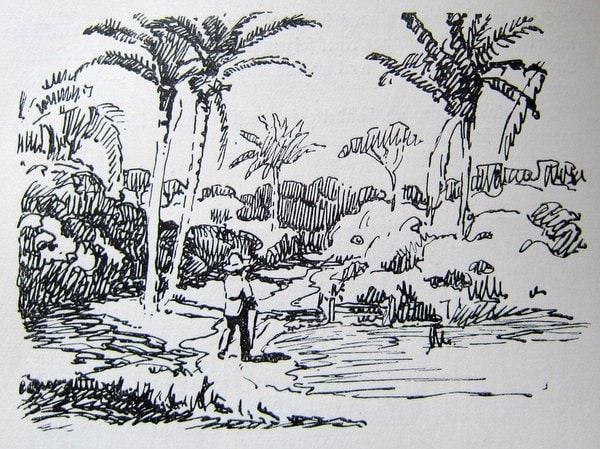 An Lagerfeuern deutscher Vagabunden - Zeichnung von Hans Anton Aschenborn -2