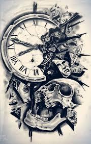tatuajes-de-calavera-con-reloj
