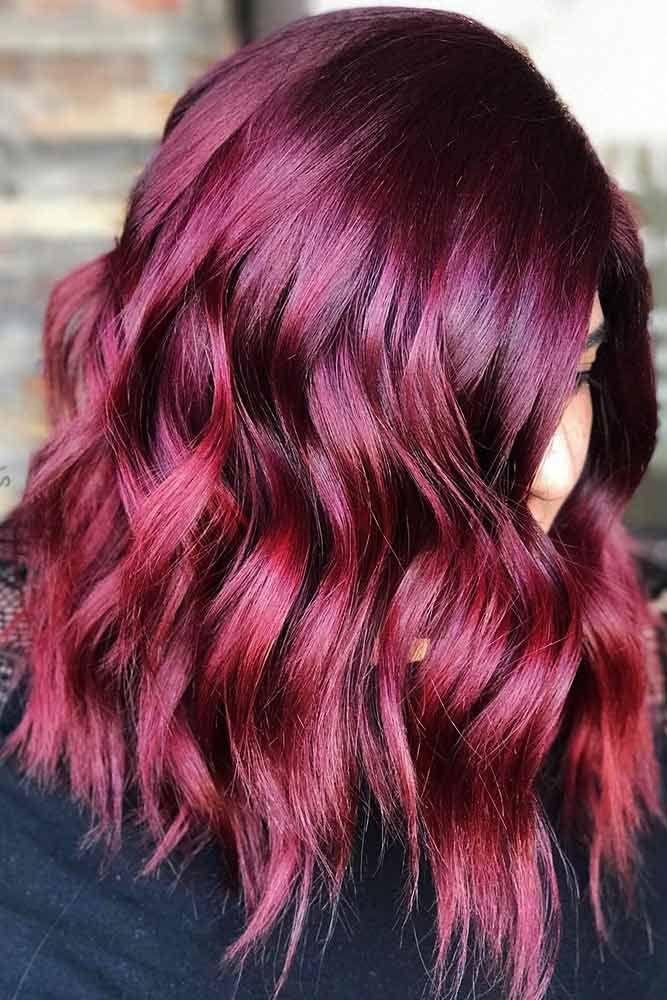 tóc nhuộm tone đỏ tím