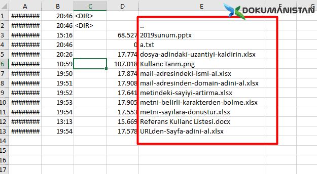 XMS Çıkan Liste Excelden Kopyala