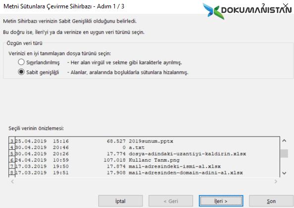 Excel MEtni Sütunlara Dönüştür