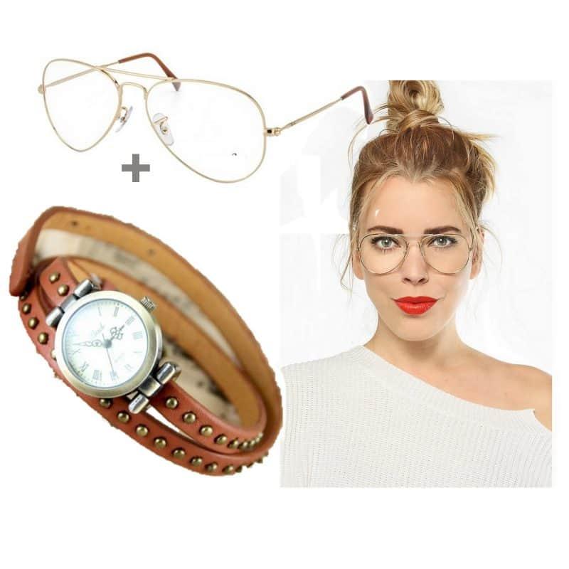 Montre Bracelet Cuir Marron  + Lunette Transparente