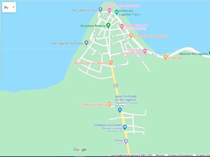 Заповедник Рио Лагартос на карте гугл