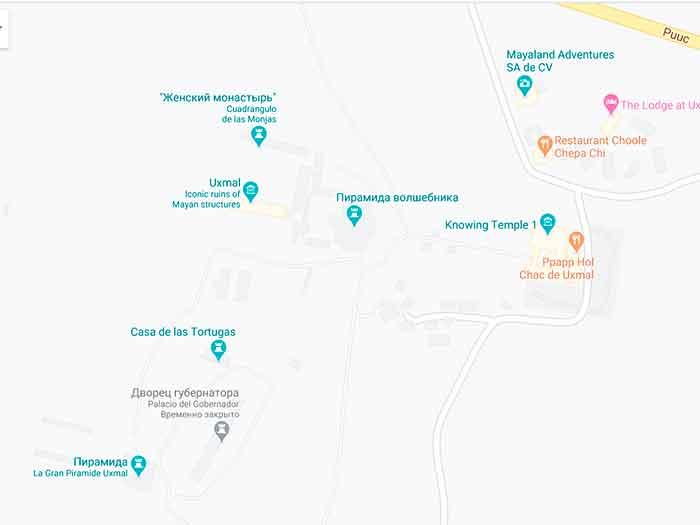 Карта основных сооружений Ушмаль