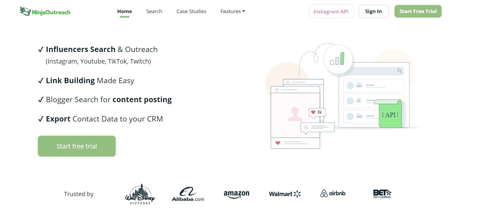 Screenshot Of Ninja Outreach Homepage