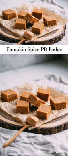 Pumpkin spice peanut butter fudge on parchment paper on wood slice