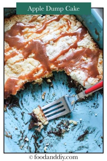 Apple dump cake with caramel sauce in baking pan