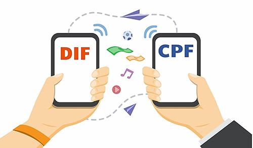 Infographie de deux téléphones échangeant les heures DIF en CPF.