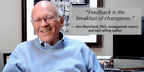 motivating employees means giving feedback like Ken Blanchard suggests