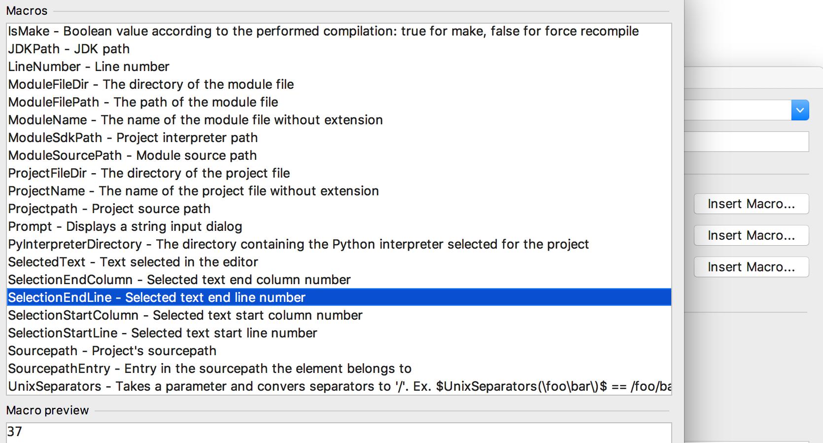 PyCharm external tool macros