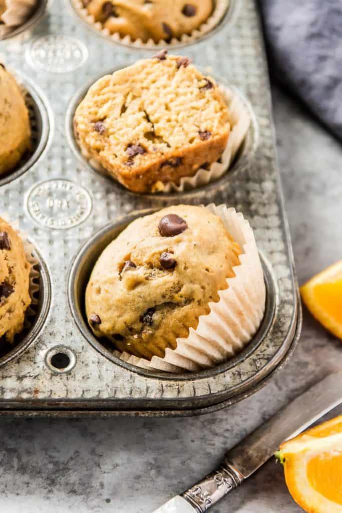 close up of chocolate orange vegan muffin
