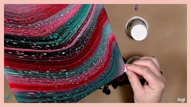 swipe  acrylic pour in progress