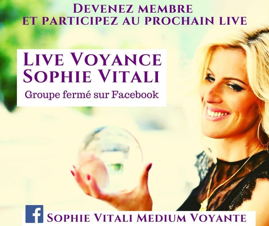 Live voyance gratuit Sophie Vitali groupe fermé sur Facebook
