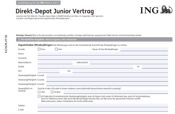 ING Junior Depot für Kind eröffnen: Der Fragebogen der ING
