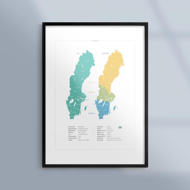 Tavla Geografi Sverige Län Landskap