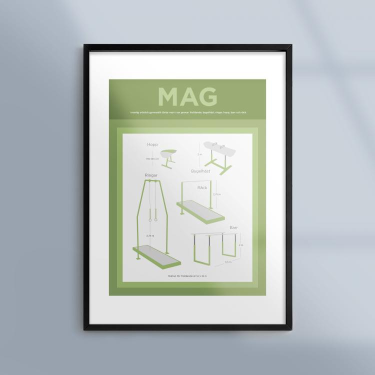 Poster-Tavla-Manlig-Artistisk-Gymnastik-Ram-Kunskapat